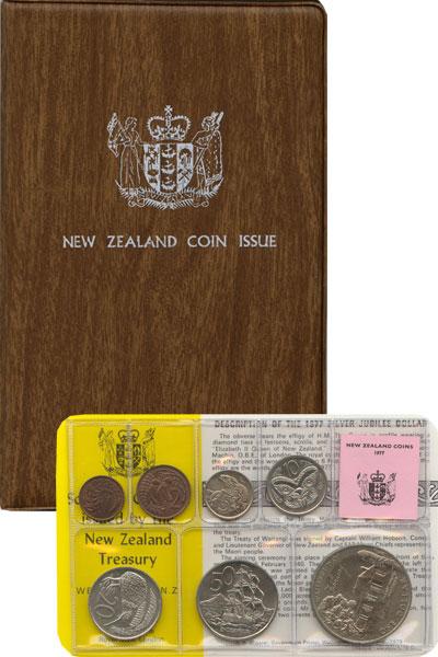 Изображение Подарочные монеты Новая Зеландия Годовой набор 1977 года 1977  UNC В наборе 7 монет ном