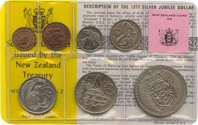 Изображение Подарочные монеты Новая Зеландия Годовой набор 1976 года 1976  UNC В наборе 7 монет ном