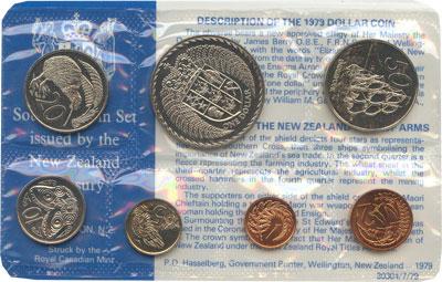 Изображение Подарочные монеты Новая Зеландия Годовой набор 1979 года 1979  UNC В наборе 7 монет ном