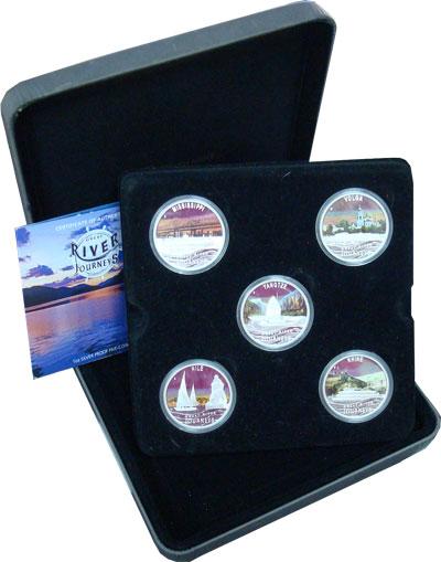 Изображение Подарочные монеты Тувалу Великие реки мира 2010 Серебро Proof Подарочный набор пос