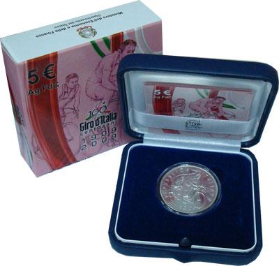 Изображение Подарочные монеты Италия 100 -летие велоспорта 2009 Серебро UNC