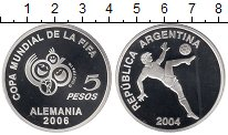 Изображение Монеты Аргентина 5 песо 2004 Серебро Proof- Чемпионат мира по фу