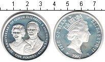 Изображение Монеты Остров Мэн 5 фунтов 1997 Серебро Proof- Елизавета II. 50-лет