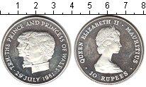 Изображение Монеты Маврикий 10 рупий 1981 Серебро UNC- Принц и принцесса Уэ