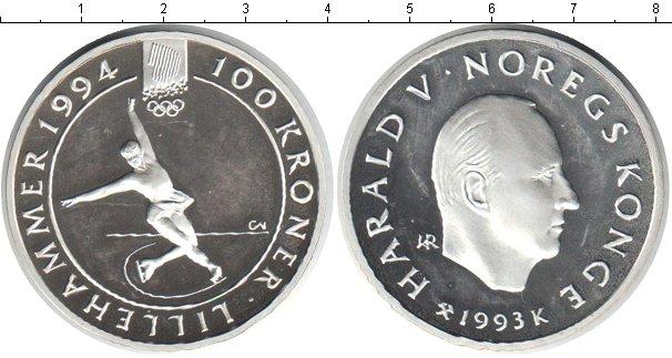 Картинка Монеты Норвегия 100 крон Серебро 1993