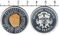 Изображение Монеты Того 500 франков 1982 Серебро Proof- Гельмут Шмидт