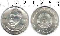 Изображение Монеты ГДР 20 марок 1976 Серебро XF Вильгельм Либкнехт.