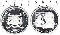 Изображение Монеты Бенин 1000 франков 2005 Серебро Proof- Моцарт