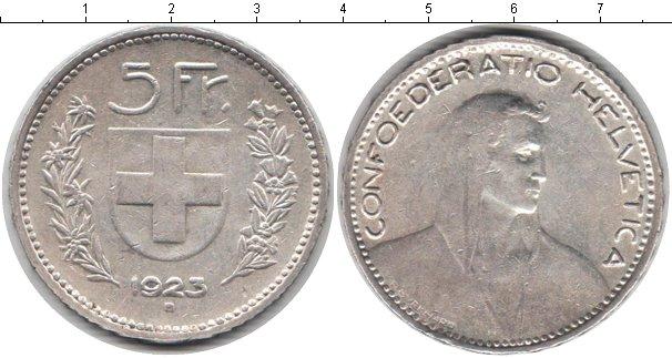 Картинка Монеты Швейцария 5 франков Серебро 1923