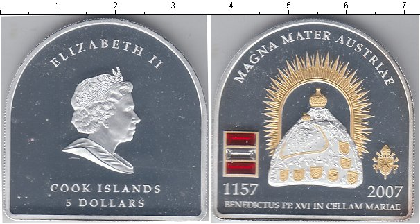 Картинка Монеты Острова Кука 5 долларов Серебро 2007