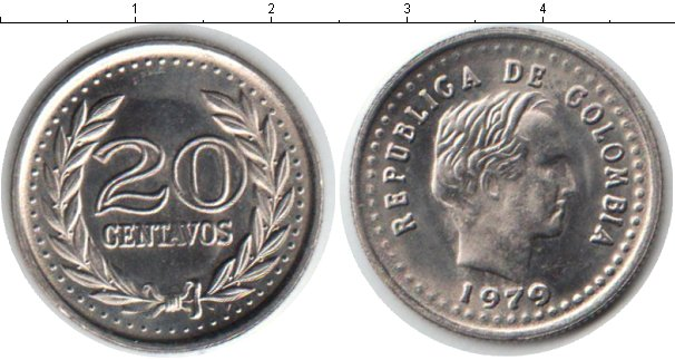 Картинка Мелочь Колумбия 20 сентаво Медно-никель 1979