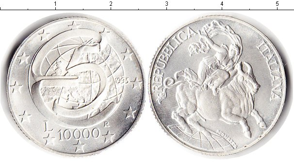 Картинка Монеты Италия 10.000 лир Серебро 1995