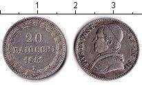 Изображение Монеты Ватикан 20 байочи 1858 Серебро XF Пий IХ