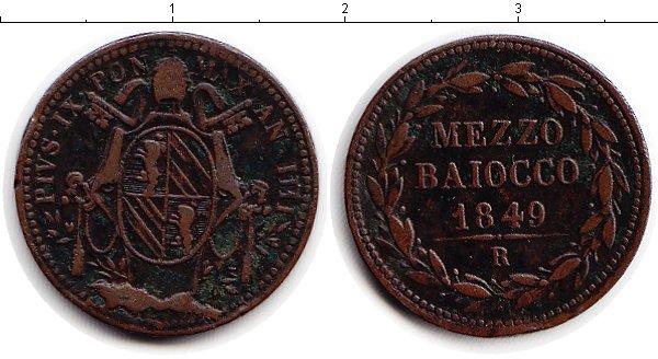 Картинка Монеты Ватикан 1/2 байоччи Медь 1849