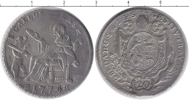 Картинка Монеты Швейцария 20 крейцеров Серебро 1774