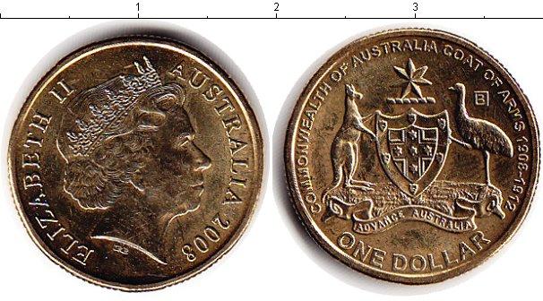 Набор монет Австралия 1 доллар Латунь 2008 UNC фото 2