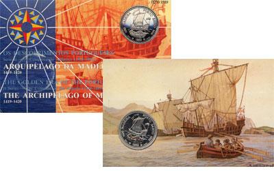 Изображение Подарочные монеты Португалия 100 эскудо 1989 Серебро UNC Подарочная монета по