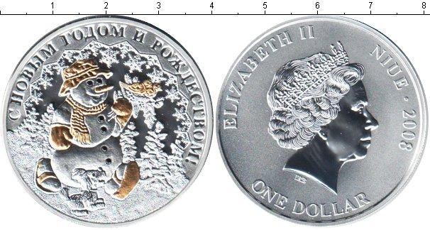 Картинка Подарочные монеты Ниуэ Весёлый Снеговичок! Серебро 2008