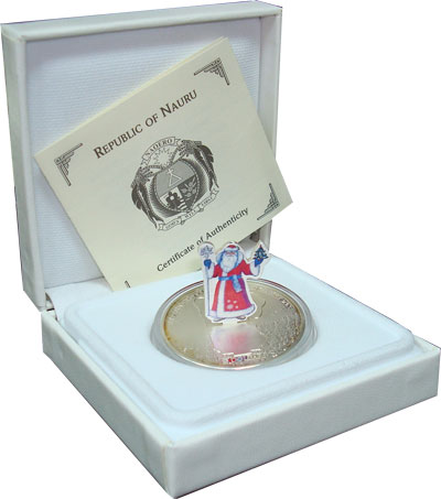 Изображение Подарочные монеты Науру Счастливого Нового Года! 2008 Серебро UNC `Подарочная монета `