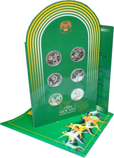 Изображение Подарочные монеты Россия Всемирные юношеские игры 1998 1998 Серебро Proof Подарочный набор пос