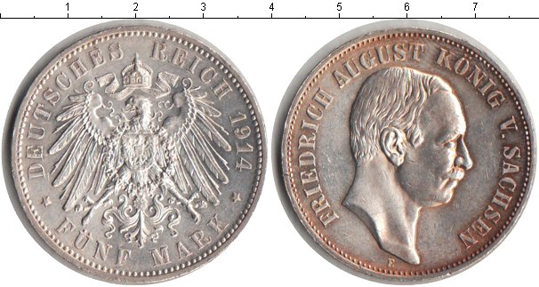 Картинка Монеты Саксония 5 марок Серебро 1914