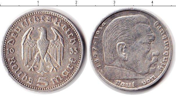 Картинка Мелочь Третий Рейх 5 марок Серебро 1935
