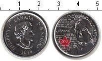 Изображение Мелочь Канада 25 центов 2013 Медно-никель UNC- Лора Секорд (цветная
