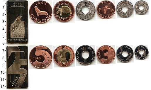 Изображение Наборы монет Галапагосские острова Галапагосские острова 2008 2008  UNC- В наборе 7 монет ном