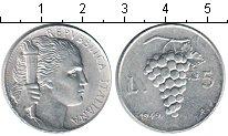 Изображение Монеты Италия 5 лир 1949 Алюминий XF виноград