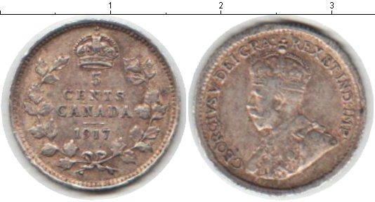 Картинка Монеты Канада 5 центов Серебро 1917
