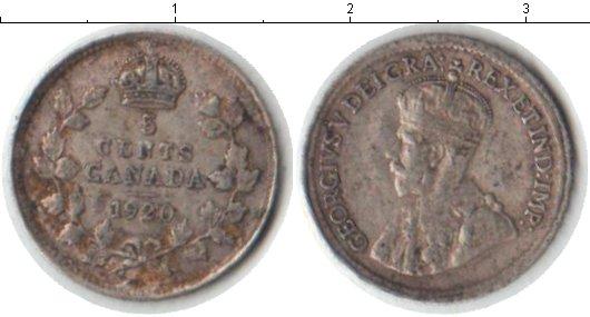 Картинка Монеты Канада 5 центов Серебро 1920