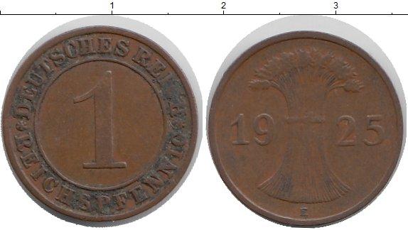 Картинка Мелочь Веймарская республика 1 пфенниг Медь 1925