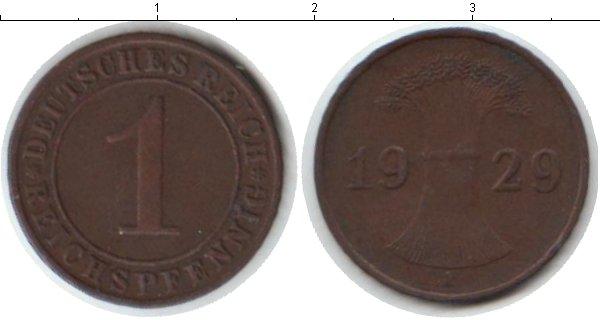 Картинка Мелочь Веймарская республика 1 пфенниг Медь 1929