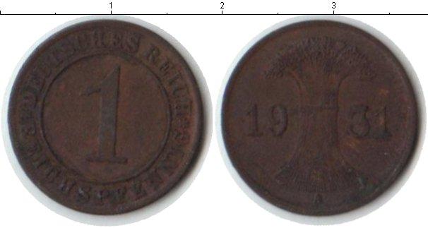 Картинка Мелочь Веймарская республика 1 пфенниг Медь 1931