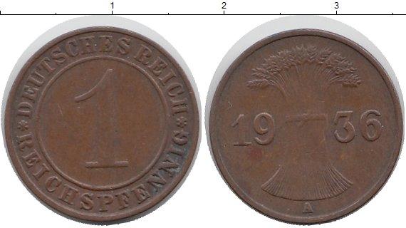 Картинка Мелочь Веймарская республика 1 пфенниг Медь 1936