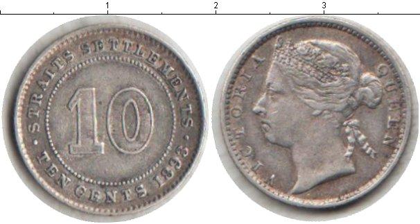 Картинка Монеты Стрейтс-Сеттльмент 10 центов Серебро 1893