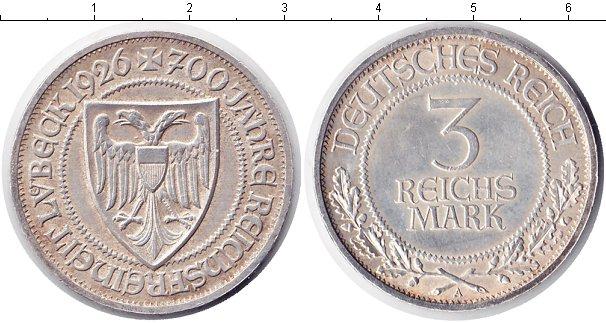 Картинка Монеты Веймарская республика 3 марки Серебро 1926
