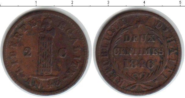 Картинка Монеты Гаити 2 сантима Медь 1846