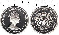 Изображение Монеты Гернси 2 фунта 1993 Серебро Proof 40-летие коронации Е
