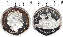 Изображение Монеты Каймановы острова 10 долларов 2007 Серебро Proof 60-летие свадьбы Ели