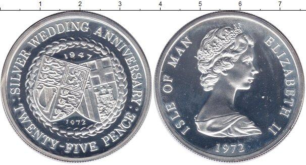 Картинка Мелочь Остров Мэн 25 пенсов Серебро 1972