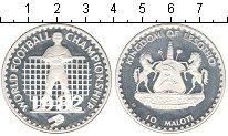 Изображение Монеты Лесото 10 малоти 1982 Серебро Proof Чемпинат мира по фут