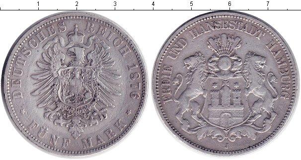 Картинка Монеты Гамбург 5 марок Серебро 1876