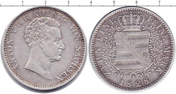 Картинка Монеты Саксония 1 талер Серебро 1828