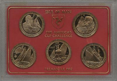 Изображение Подарочные монеты Остров Мэн Парусники 1987 Медно-никель UNC `Подарочный набор 19
