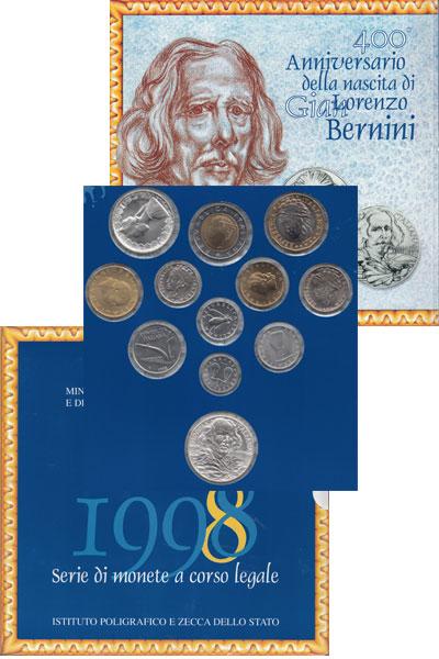 Изображение Подарочные наборы Италия Набор: 400 лет со дня рождения Лоренцо Джованни Бернини 1998   12 монет, посвященны