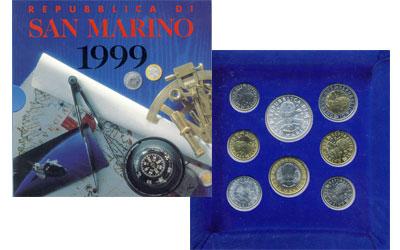 Изображение Подарочные монеты Сан-Марино Набор: Путешествия по земле, по морю, по небу 1999  UNC 8 монет, посвященных