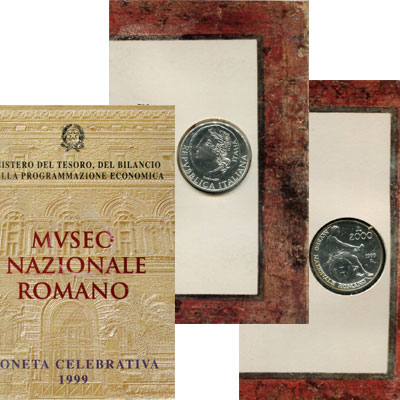 Изображение Подарочные монеты Италия Набор: Национальный римский музей 1999   Набор посвящен юбиле