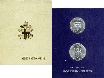 Изображение Подарочные наборы Ватикан Anno Santo 1983 - 1984 1984  UNC В наборе две серебря