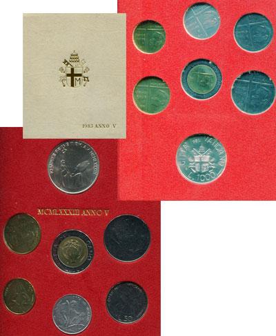 Изображение Подарочные монеты Ватикан 1.983 Anno V 1983  UNC В наборе 7 монет: 10